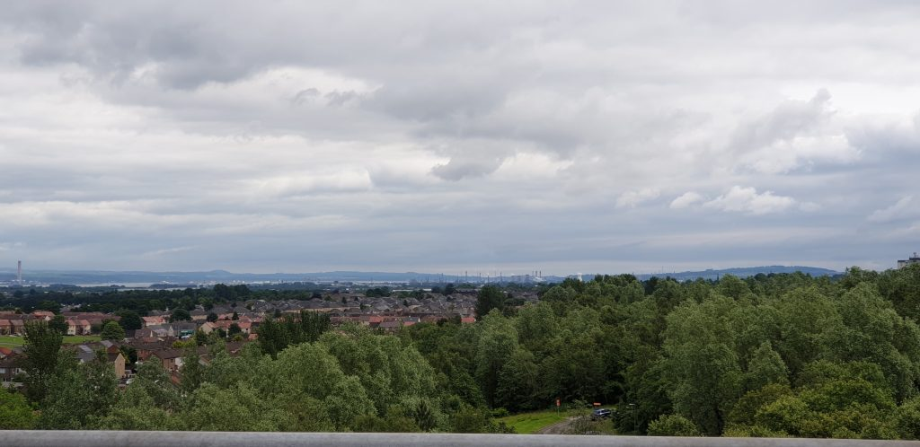 View towards Grangemouth from the top of the Falkirk Wheel