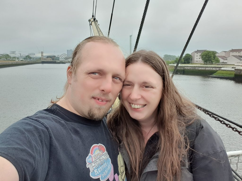 Dan and Ruth, windswept and wet, aboard the Glenlee in Glasgow.