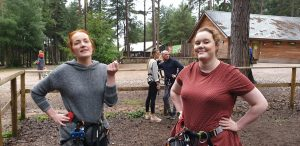 Sarah and Jemma prepare for Go Ape.