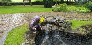 Annabel prods moss on the fountain.