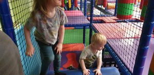 John and Annabel explore the soft play area.