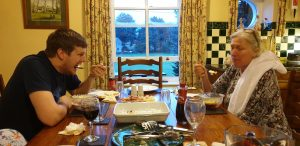 Graham and Doreen compete at trifle-eating.