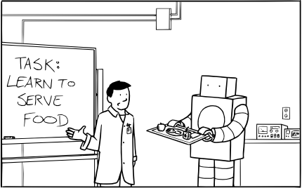 "LABS comic 001 frame 1 - ""Learn to Serve Food"""