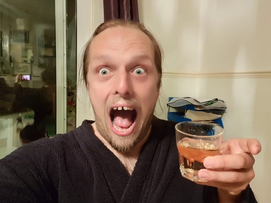 Dan with a whisky.
