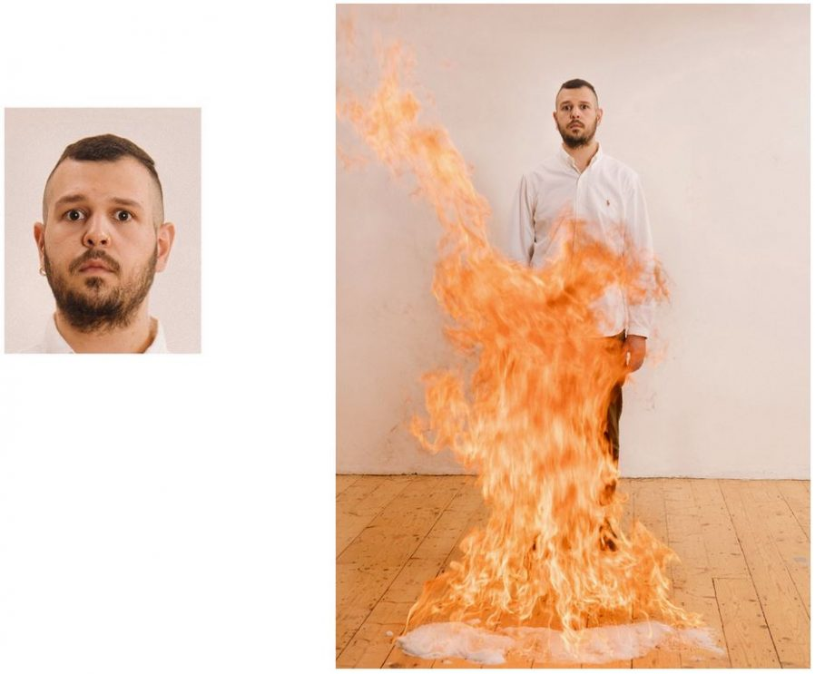 """Passport Photos"" photo of a man with a fire next to him."