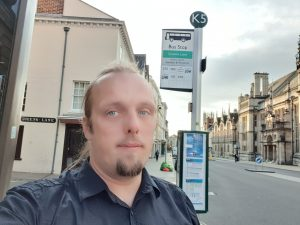 Dan waits for the Gatwick Airline bus