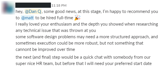 Slack message recommending me for hire.