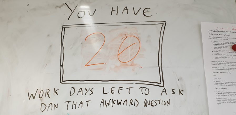 You have [20] work days left to ask Dan that awkward question.