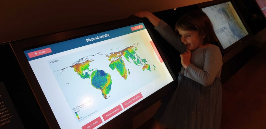 Annabel explores the Talking Maps digital interactives.