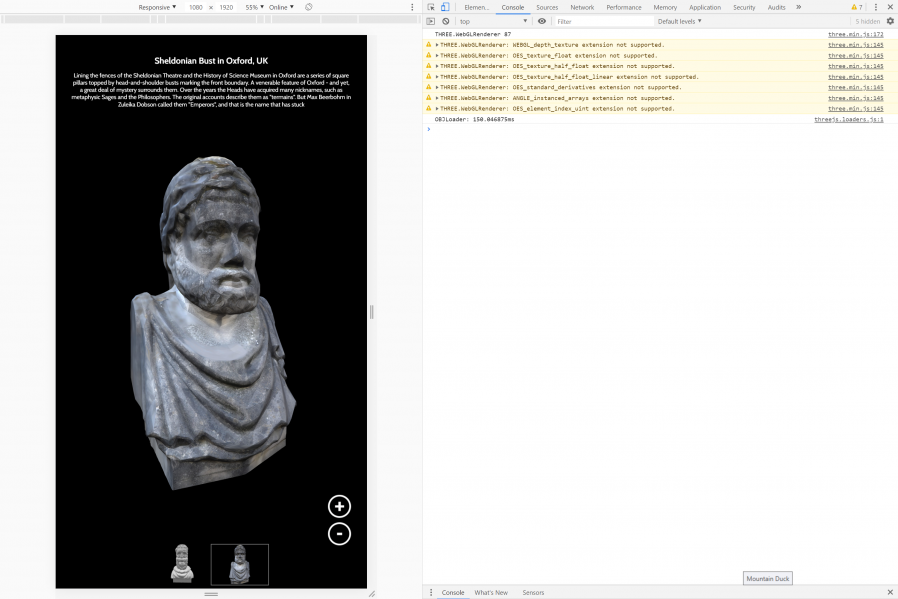 "Chrome Dev Tools showing the Sheldonian Bust ""Thinking 3D"" exhibit"