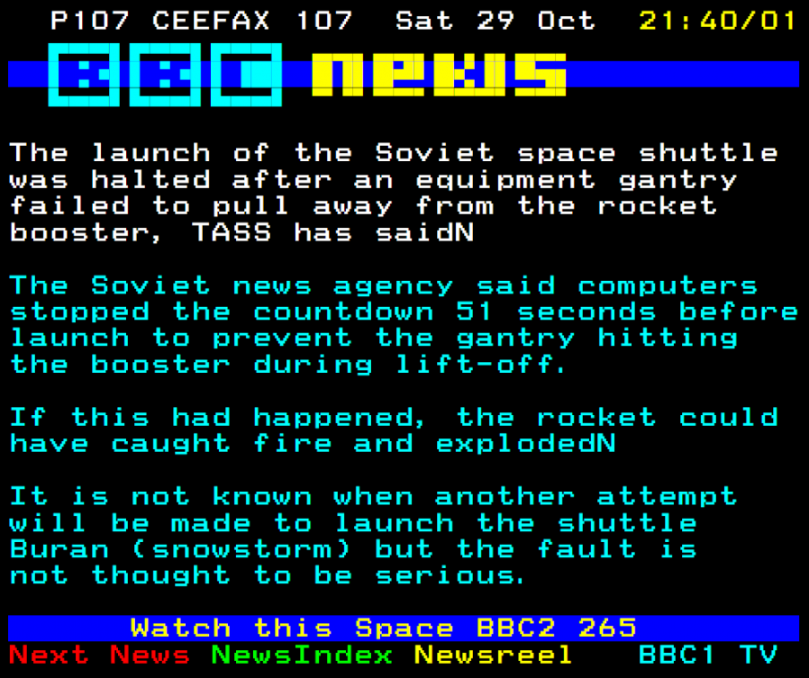 Ceefax news article from 29 October 1988, about a cancelled Soviet shuttle launch.