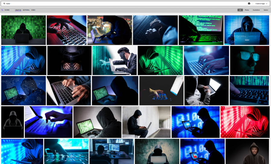 "Getty Images search for ""Hacker""."