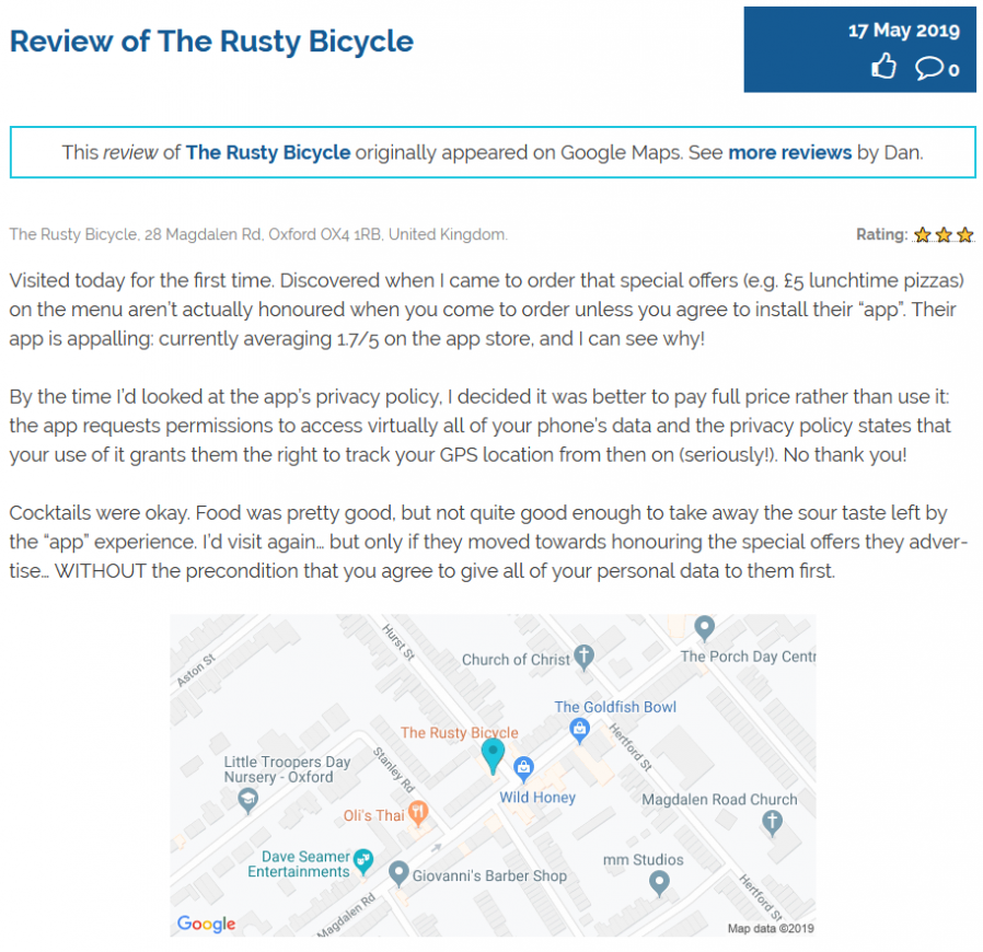 My review of The Rusty Bicycle as it now appears on this site.