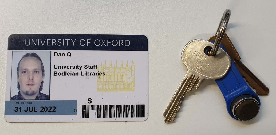 Bodleian staff badge and keyring