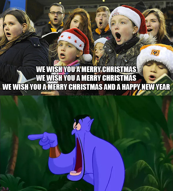 "Comic: carollers sing ""We wish you a Merry Christmas"" three times, the genie from Disney's Aladdin looks on in shock."