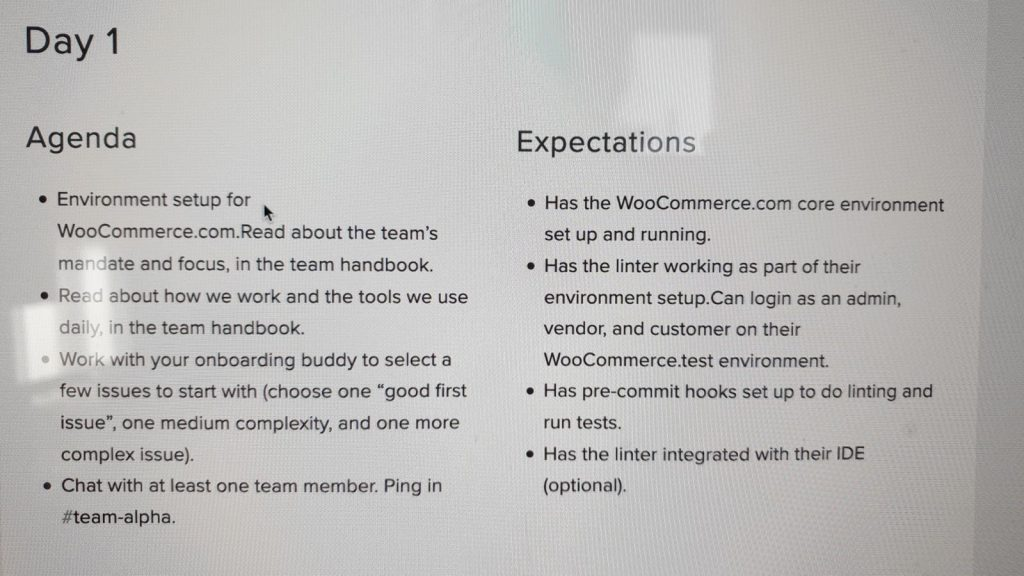 Agenda and Expectations Checklist for Dan's first day at Automattic