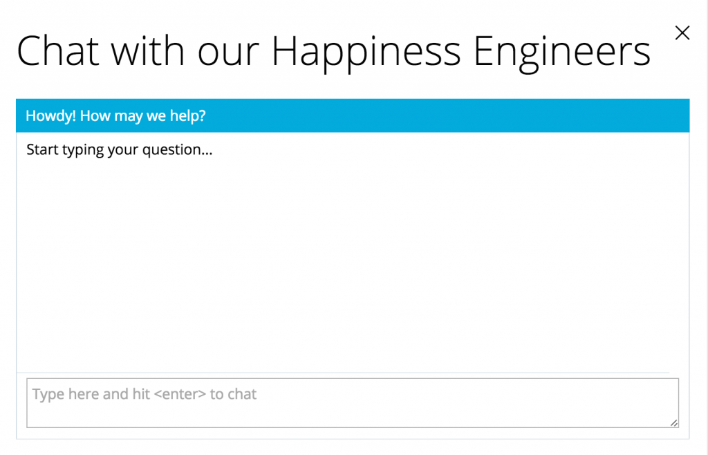 Happiness Live Chat screenshot, customer's view.