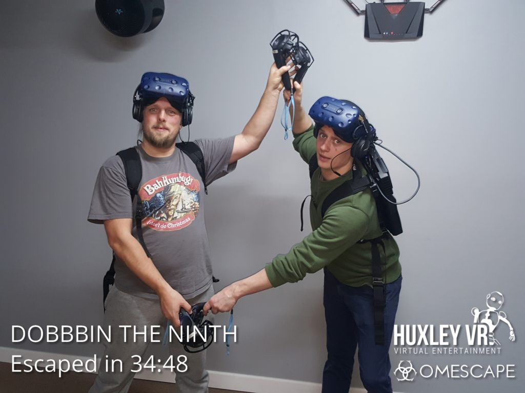 Dan and Robin concluding a VR Escape Room.