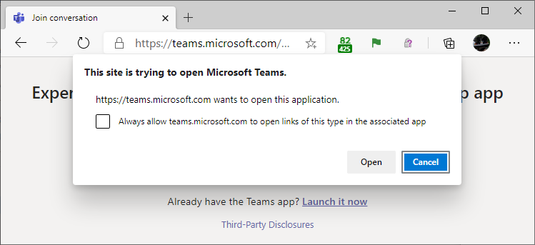 "Edge Canary showing an ""Always allow [this website] to open links of this type..."" checkbox"