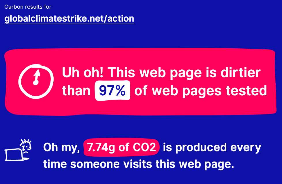 "globalclimatestrike.net/action: ""Uh oh! This web page is dirtier than 97% of web pages tested. Oh my, 7.74g of CO2 is produced every time someone visits this web page."""
