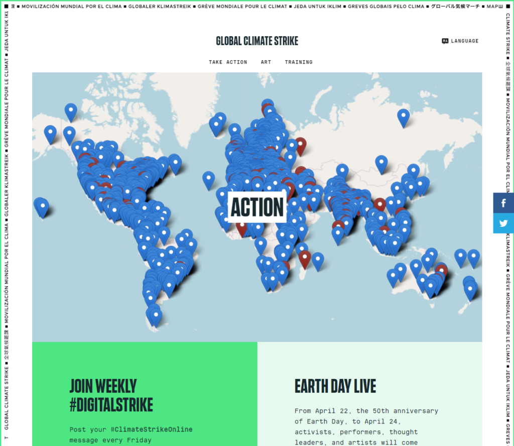 "Global Climate Strike's ""Take Action"" webpage"