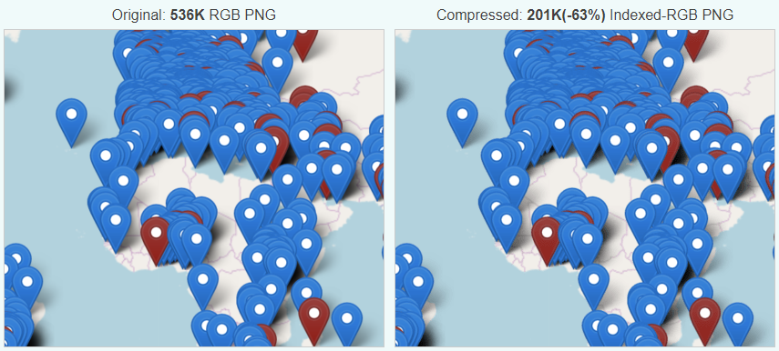 Image compression comparison for the map image. Before: 536K, after: 201K (-63%).