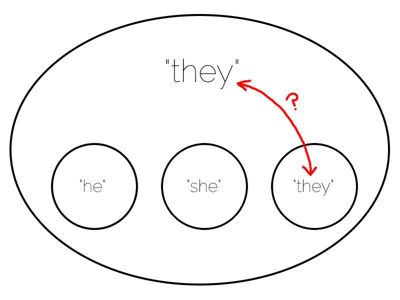 "Venn-Euler diagram showing ""he"" and ""she"" as separate categories, but the name ""they"" shared between the subset (individuals for whom this is their individual pronoun) and the superset (one or more people whose genders are unspecified), causing confusion."