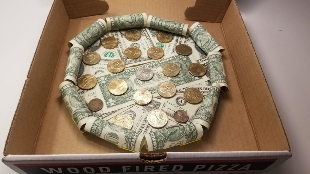 Pizza made of money