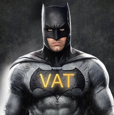 "Batman, with his costume's logo adapted to be ""VAT man""."