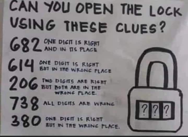 """Can you open the lock using these clues?"" puzzle"