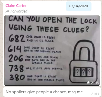 WhatsApp message from Claire, challenging people to solve her puzzle.