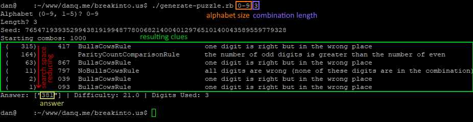 Sample output of the puzzle generator for an alphabet of 0-9 and a combination length of 3.