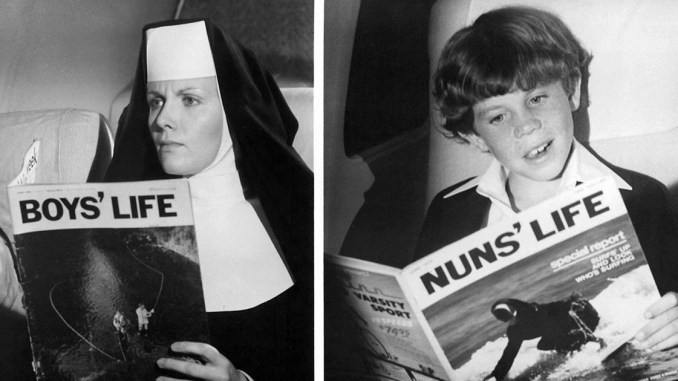 A nun reading Boy's Life and a boy reading Nun's Life