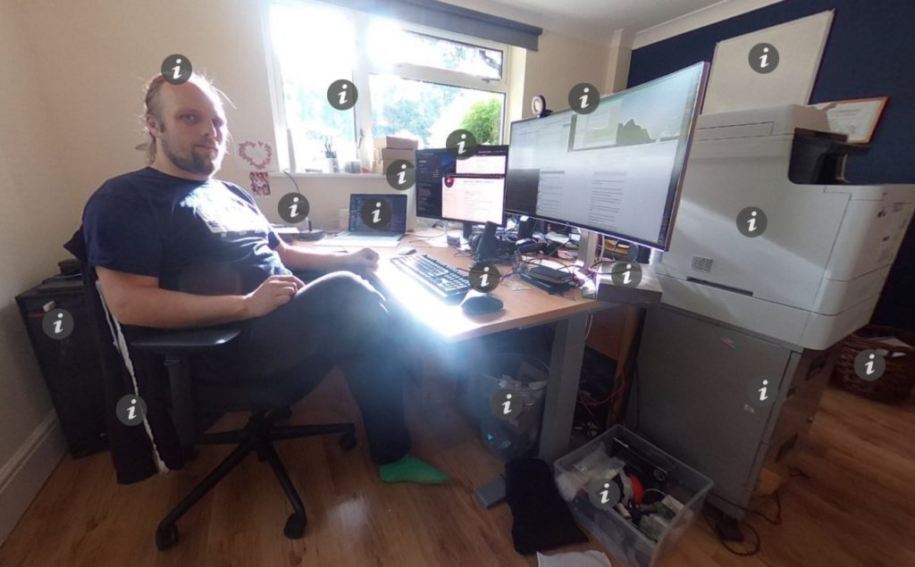 Dan in his home office (links to an interactive 360° panoramic photo with info points).