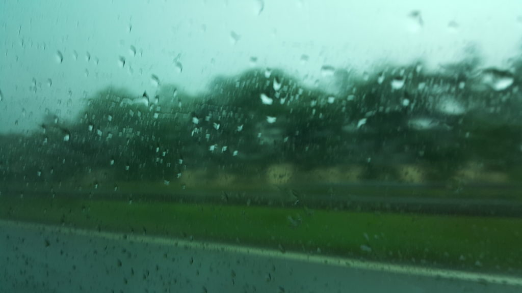 Rain in Lanark, seen through a car window
