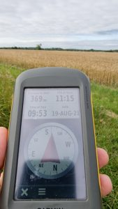 GPSr showing that the destination is 369 metres into a field of corn.
