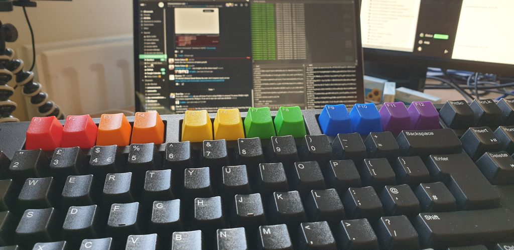 Keyboard with Pride rainbow function keys