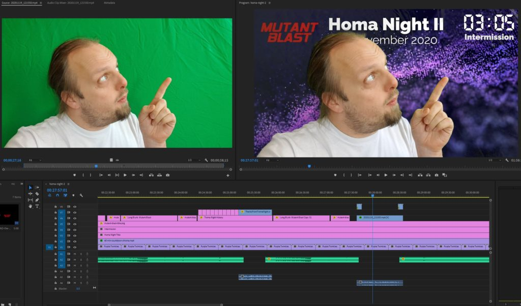 Dan uses a green screen to add to the intermission.