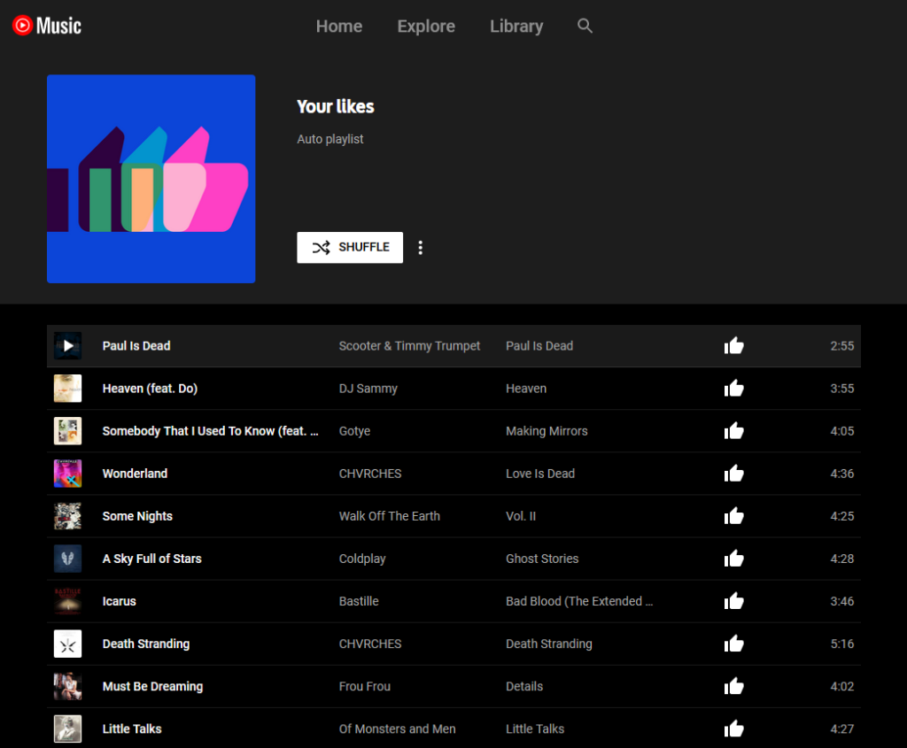 "A ""Your likes"" playlist in the YouTube Music interface, with 10 songs showing."