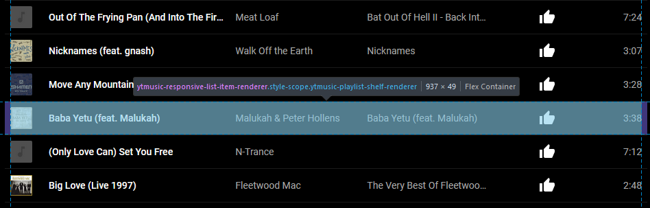 """A browser debugger inspecting a """"row"""" in a YouTube Music playlist. The selected row is """"Baba Yeta"""" by Peter Hollens and Malukah, and has the element name """"ytmusic-responsive-list-item-renderer"""" shown by the debugger."""