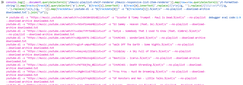 Code running in a debugger and producing a list of youtube-dl commands to download a playlist full of music.