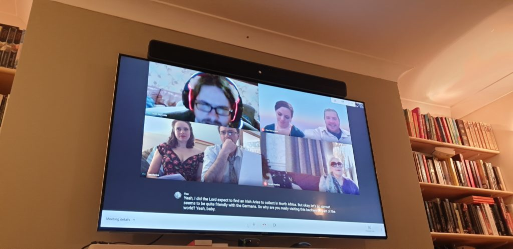 Matt, Suz, Alec, Jen, Dermot and Doreen on a Google Meet screen.