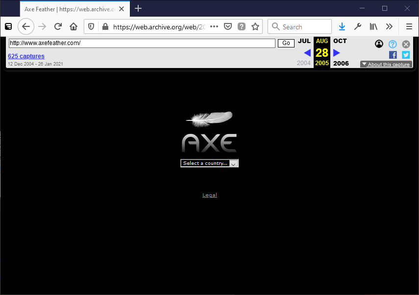 Axe Feather logo visible via Archive.org, circa August 2005, in a Firefox browser window.