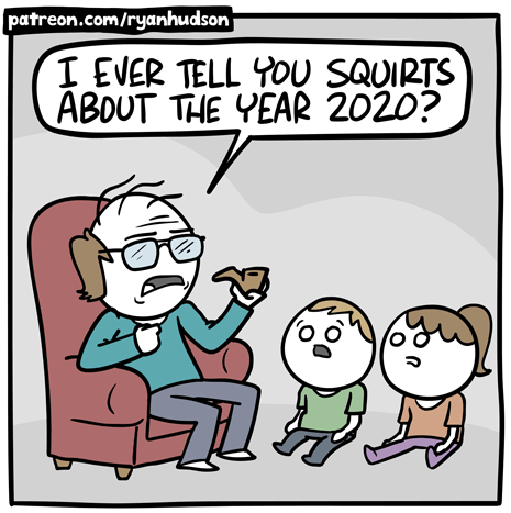 "First frame of ""Story Time"" comic from Channelate. An old man sits in an armchair and talks to two small children sitting on the floor in front of him. The old man says ""I ever tel you squirts about the year 2020?"""