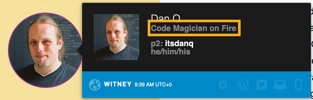 """P2 user badge for me, showing my job title and team as """"Code Magician on Fire"""""""