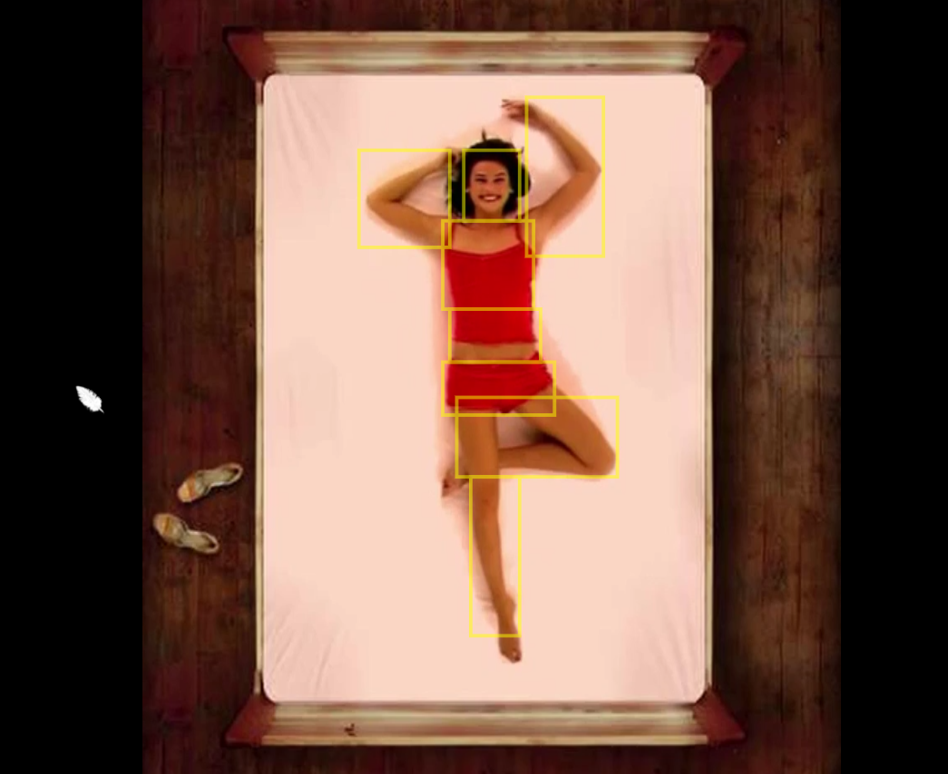 Woman on bed in idle position B, with hotspots highlighted on each arm, her hed, her chest, her stomach, her hips, the top of her legs, and the bottom of the leg that's extended straight below her.