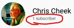 YouTube ID badge showing that Chris Cheek has only one subscriber.