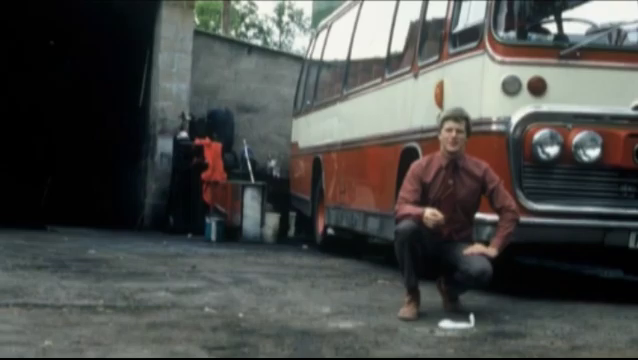 Peter Huntley, circa 1985, in a bus depot.