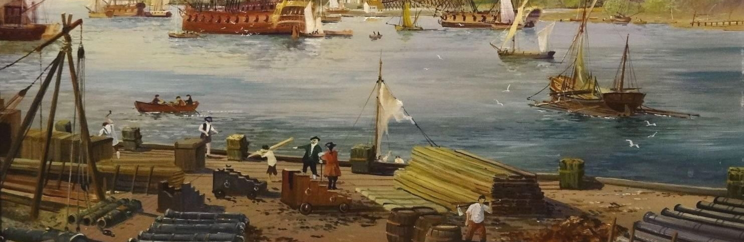 Crop from Fine View of 1798 The Gunwharf Portsmouth Dockyard by E G Burrows