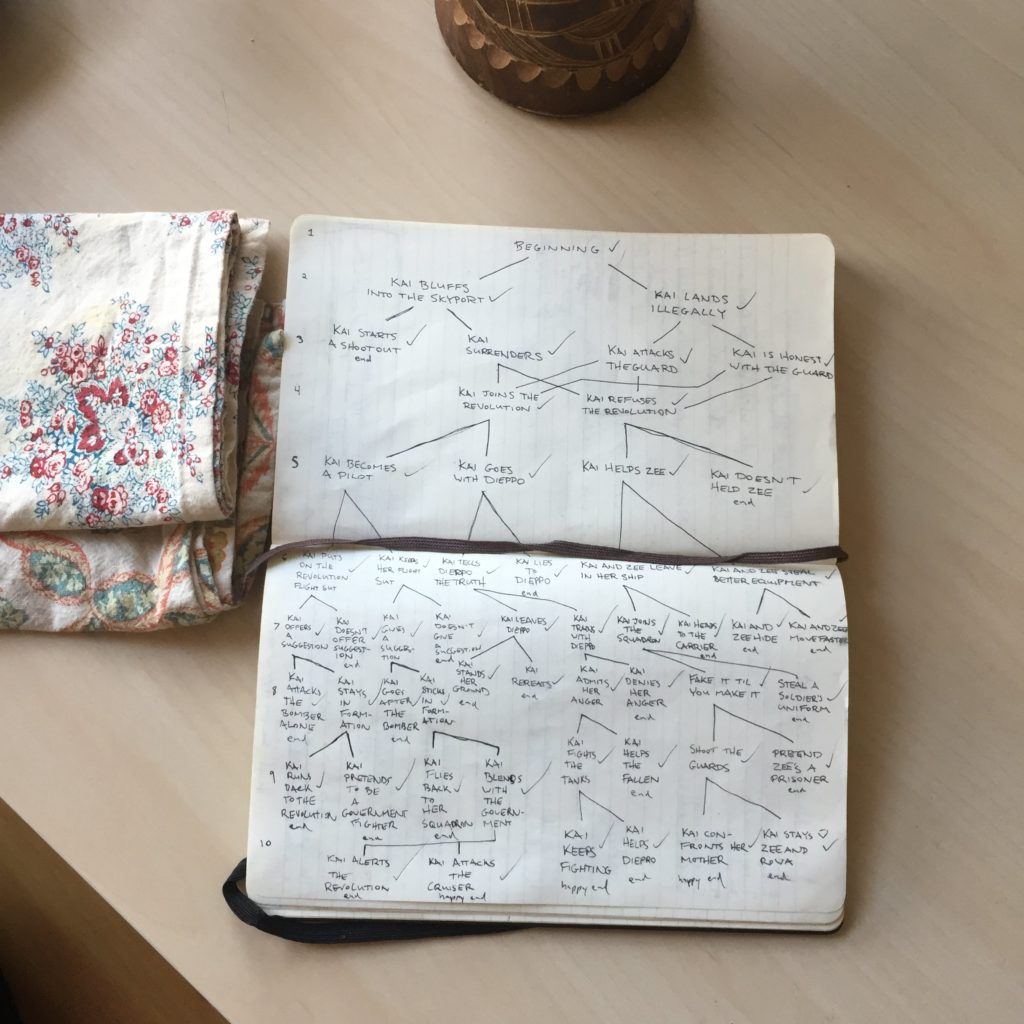 Hand-written note showing branching path story plan, from John Diary's Twitter.
